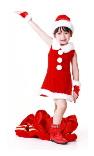 Barn Julenissen Kjole Jule Barnekostymer