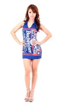 Blå Budweiser Minikjole Korte Kjoler