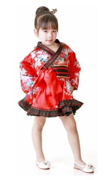 Blomstret Kimono Barnekjole
