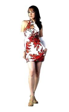 Chic Kort Hvit Cheongsam