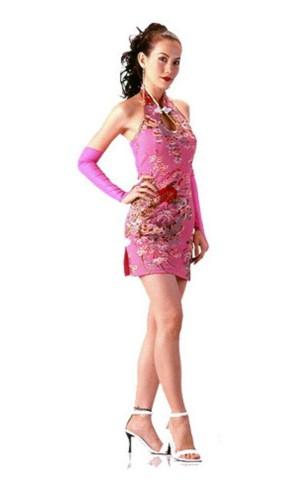 Delikat Kort Rosa Cheongsam Asiatiske Kjoler