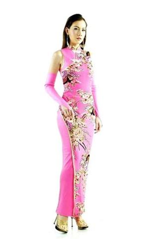 Delikat Rosa Qipao Asiatiske Kjoler