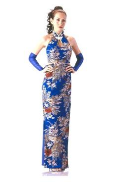 Elegant Blå Cheongsam