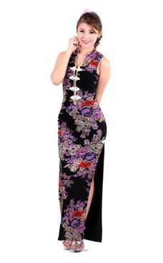 Elegant Svart Asiatisk Selskapskjole