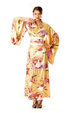 Fersken Kimono Kjole Kimono Kjoler