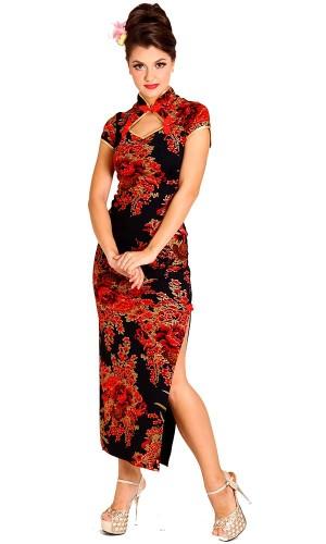 Fristende Svart Kinesisk Kjole Asiatiske Kjoler