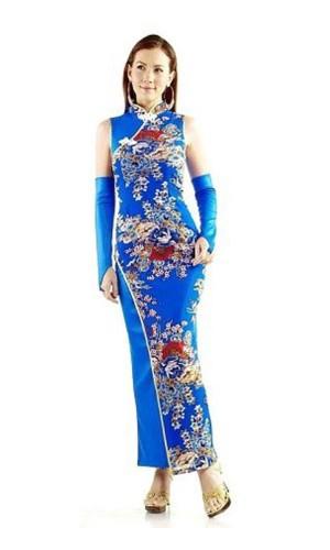 Grasiøs Blå Qipao Asiatiske Kjoler