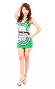 Grønn Heineken Kjole Korte Kjoler