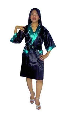 Grønn Silke Morgenkåpe Unisex Kimono Morgenkåpe