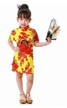 Gul Cheongsam Barnekjole Asiatiske Barnekjoler