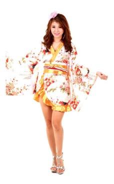 Hvit Asiatisk Kimono