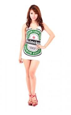 Hvit Heineken Kjole Korte Kjoler