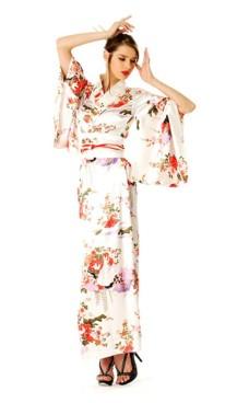 Hvit Kimono Kjole