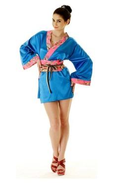 Kort Blå Yukata Kjole Kimono Kjoler