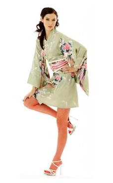 Kort Grønn Kimono Kjole