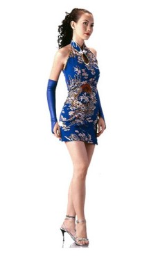 Kort Nydelig Blå Cheongsam Asiatiske Kjoler