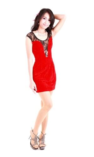 Kort Rød Blonde Kjole Korte Kjoler