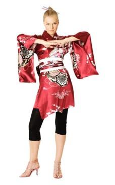 Kort Rød Kimono Kjole