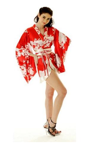 Kort Rød Yukata Kjole Kimono Kjoler