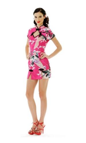 Kort Rosa Asia kjole Asiatiske Kjoler