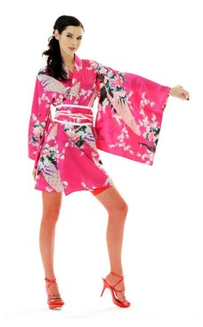 Kort Rosa Kimono Kjole Kimono Kjoler
