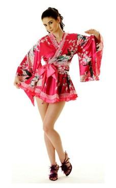 Kort Rosa Yukata Kjole Kimono Kjoler