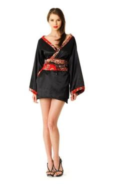 Kort Svart Kimono Kimono Kjoler