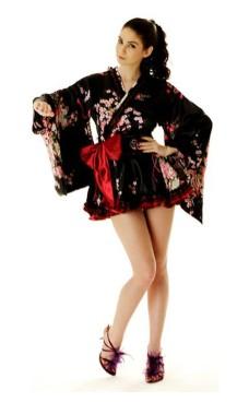 Kort Svart Yukata Kimono Kjoler