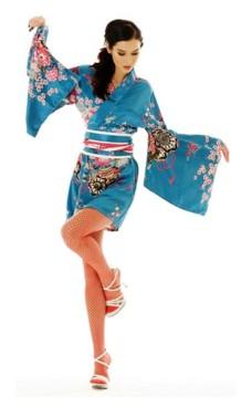 Kort Turkis Kimono Kjole Kimono Kjoler