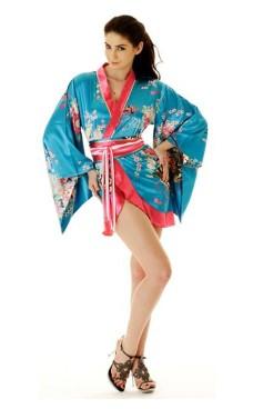 Kort Turkis Yukata Kjole Kimono Kjoler
