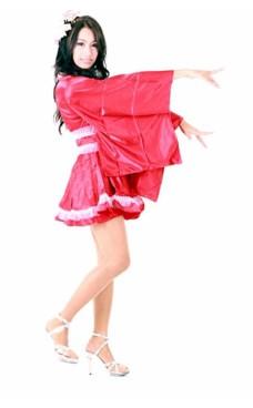 Lang T-sleeve Rød Kimono