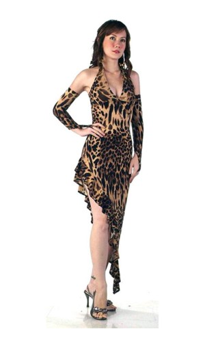 Leopard Salsa Kjole Lange Kjoler