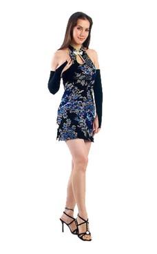 Luksuriøs Kort Svart Cheongsam Asiatiske Kjoler