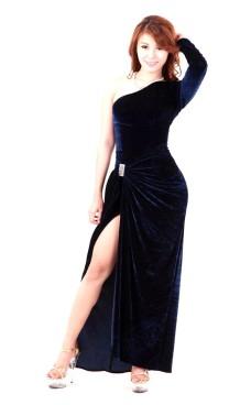 Mørk Blå Aftenkjole Lange Kjoler