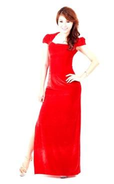 Praktfull Rød Selskapskjole Lange Kjoler