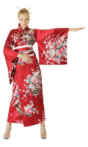 Rød Kimono Kjole Kimono Kjoler