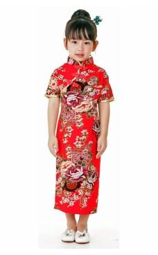 Rød Kinesisk Barnekjole Asiatiske Barnekjoler