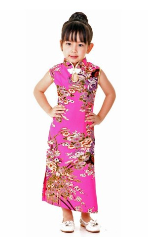 Rosa Cheongsam Barnekjole Asiatiske Barnekjoler