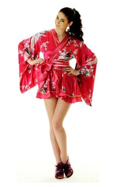 Rosa Yukata Minikjole