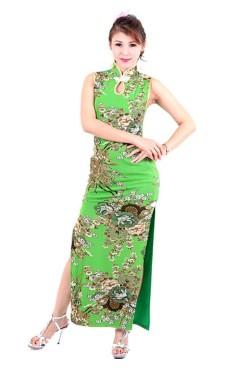 Sexy Grønn Cheongsam Asiatiske Kjoler