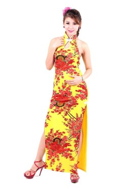 Sexy Gul Cheongsam Asiatiske Kjoler