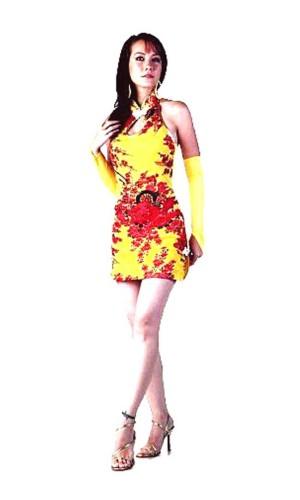 Sexy Kort Gul Cheongsam Asiatiske Kjoler