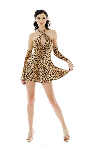 Sexy Kort Leopard Kjole Korte Kjoler