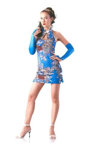 Sexy Kort Turkis Cheongsam Asiatiske Kjoler