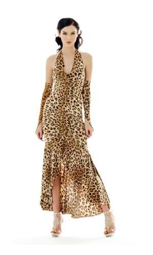 Sexy Leopard Kjole Lange Kjoler