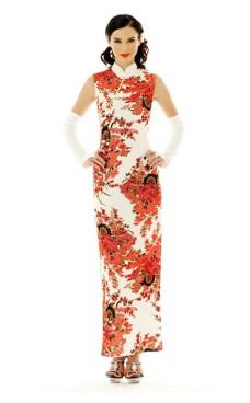 Skjønn Hvit Cheongsam Asiatiske Kjoler