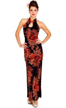 Skjønn Svart Cheongsam Asiatiske Kjoler