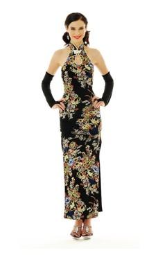 Sofistikert Svart Cheongsam Asiatiske Kjoler