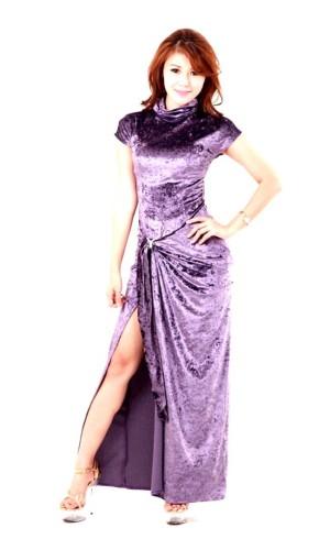 Stilig Lavendelblå Kjole Lange Kjoler