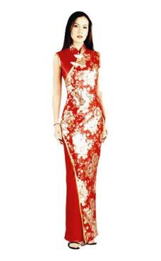 Stilig Rød Asiatisk Kjole